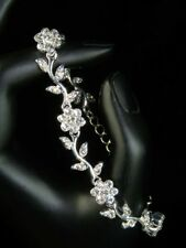 SALE Bridesmaid Clear Crystal Flower Silver Plated Bracelet / Bridal / Prom b187