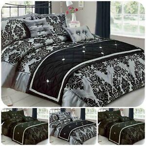 New Luxury Damask Denton Duvet Cover Bedding Set Pillowcase Double king S-K Size