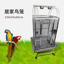 SUS201 Stainless Steel Parrot Cage 60x55x150cm Play Top Bird Cage Big Macaw cage