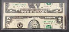 Two Dollar Bill Cutting Error $2 Federal Reserve Error DUAL SERIAL NUMBERS!!