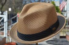 Quality Summer Men's Straw Mesh Porkpie Fedora Stingy Brim Dress Hat 4 Colors