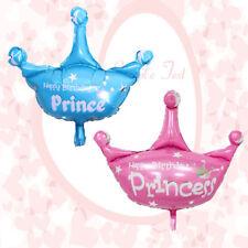 Bleu Rose Joyeux anniversaire Princesse Prince Couronne Ballons en aluminium