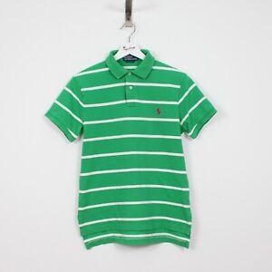 AF62 Ralph Lauren Polo Men Green Striped Short Sleeve Shirt Cotton Custom Fit S