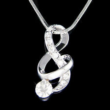 w Swarovski Crystal TREBLE g CLEF music Musical NOTE Pendant Charm Necklace Cute