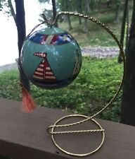 Round Ball Sailboat Ornament With Brass Tone Twisted Stand