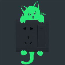 Cute Cat Creative Luminous Switch Wall Sticker Kitten Noctilucent Glow Home Deco