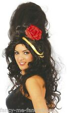Ladies Black Amy Winehouse Big Beehive Celebrity Fancy Dress Costume Outfit Wig