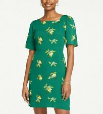 ANN TAYLOR KELLY GREEN FLORAL SQUARE NECK DRESS NWT! $110 10