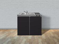 Cucina Mini Cucina Cucinino Metallküche Cucina Singola Stengel 100 cm Nero Opaco