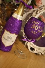 Personalised Glitter PROSECCO with Wine Glass birthday 18th 21st 40th 50th 60th
