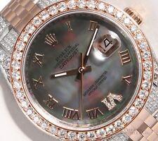 Rolex Datejust 18k Rose Gold 116231 Fully Iced 2CT Diamond Bezel Black MOP Dial
