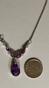 """Pear Shaped Purple Amethyst & Diamond Necklace With 18"""" stainless steel Chain"""