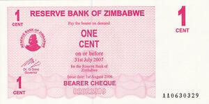 1 CENT UNC CRISPY BANKNOTE FROM ZIMBABWE 2006 PICK-33