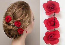 Red Rose Wedding Bridal Brides Hair Pins,Clips,Headpiece, Accessories- 3Pc