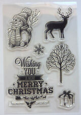 Clear Acrylic CHRISTMAS Snow-flake -man Reindeer Greeting Tree Gift 6 Stamps Set