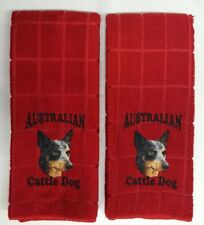 Australian Cattle Dog, Embroidered Hand Towels 2 pack