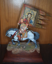 "Collectible Miniature ""FLAGMAN ON THE HORSE""  11"" X 7.5"" X4"" Hand Paint"
