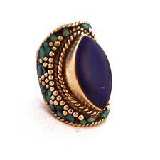 "Ethnic Handmade Tibet Nepal Rg129 Turquoise Lapis Ring 8.5"" Tibetan Nepalese"