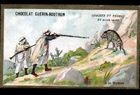 IMAGE Chromo CHOCOLAT GUERIN BOUTRON / CHASSE en AFRIQUE / à la HYENE