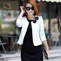 Candy Color Women Fashion Solid Bow Slim Casual Suit Blazer OL Short Coat Jacket