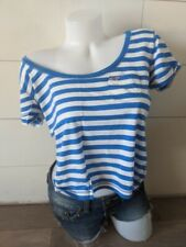 Hollister by Abercrombie Blue Striped Wide Neck Top Size M