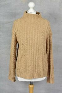 M&S Collection camel brown cable knit high neck jumper SMALL, relaxed