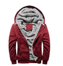 Mens Warm Fleece Lined Jacket Coat Hooded Baseball Sports Outwear Red size M