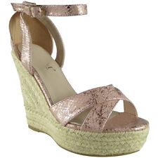 Womens Ladies Ankle Strap Buckle Espadrilles Platform Shoes Wedge Sandals Size