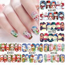 12 Sheets Luminous Full Wraps Christmas Nail Art Stickers Decal Tips DIY Decor