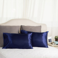 Bedsure Two-Pack Satin Pillowcases Set for Hair Polyester Cool and Easy to WASH