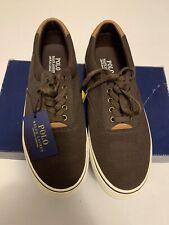 Polo Ralph Lauren Mens Canvas Shoes Thorton II Size 9.5Casual Sneaker Brown