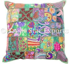 Indian Patchwork Vintage Cushion Cover 18x18 Embroidered Square Sofa Pillow Case