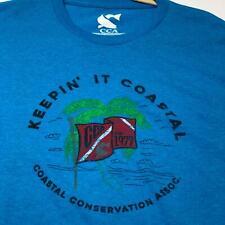 CCA Keepin It Coastal Adult Short Sleeve T Shirt XL Extra Large Blue Crewneck