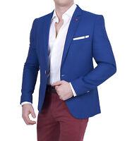Herren Casual Sakko blau Slim-Fit Einknopf Jackett Fischgrätmuster Jacke blazer