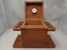 Mid Century Walnut 6 Pipe Stand With Tobacco Box Used Dovetail Detail