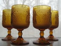 Tiara Indiana Glass 4 Amber Sandwich 8 1/2 ounce Stemmed Table Wine Goblets