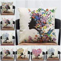 Dream Butterfly Girl Cotton Linen Pillow Case Cushion Cover Throw Home Decor 18""