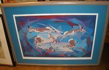 "Oscar Howe Antelope in Flight Framed Numbered 395/1,000 Print Framed 37.5""x27.5"""