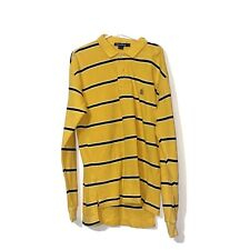 Vintage Nautica Striped Rugby Shirt Long Sleeve Size Medium Yellow 90s 80s