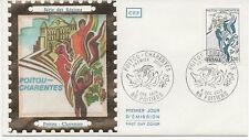 FRANCE 1975.F.D.C. SOIE. POITOU-CHARENTES.OBLITERATION:LE 6/12/75  POITIERS
