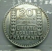 KM# 879 - 20 francs Turin 1938 - SUP - Argent - monnaie France - N7295