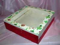 1 UNUSED VTG 1960'S LG POP-UP FOLDING XMAS CANDY / COOKIE BOX CONTAINER, NOS