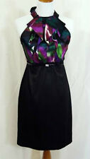 I.N. STUDIO Origami Cocktail Dress Size 4 PETITE Black Purple Green