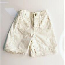 GAP Baby Girls White Frayed Hem Wide Leg Zipper Fly Cargo Jeans Size 3-6M