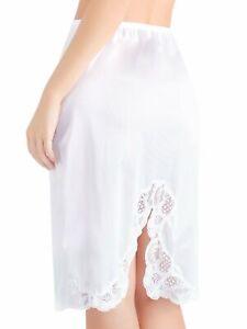 Ilusion Women's Knee Length Lace Trim Skirt with Slit Slip 2011