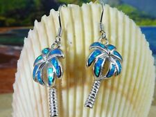 REAL STERLING SILVER PALM TREE WIRE EARRINGS WITH BLUE OPAL INLAY