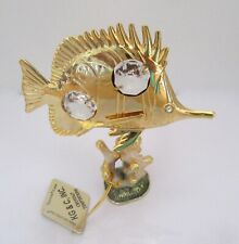 Figurine  FISH on sea plant-  Austrian Crystals  gold plated -clear crystals