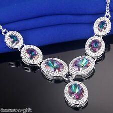 GIFT New Women Silver Plated Multicolour Gem Necklace Jewelry