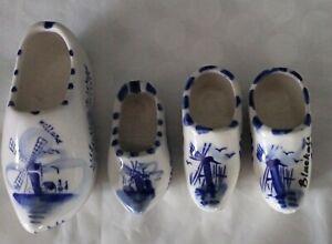 Vintage Hand Painted Dutch Delft Porcelain Clogs Ashtrays x 2 Pair Hanging Clogs