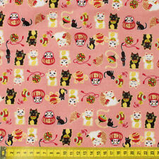 Japanese Lucky Cat Fortune 100% Cotton Fabric Fat Quarter Quilting FQ #0080